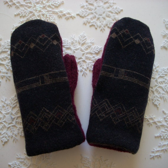 Navy and Burgundy Felted Wool Sweater Mitten