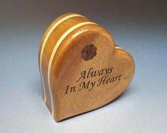 Large Heart Urn - Mahogany & Maple  Cremation Urn, Cremation Urn, Unique Urn, Small Urn, Wood Urn, Heart Urn, Wooden Urn