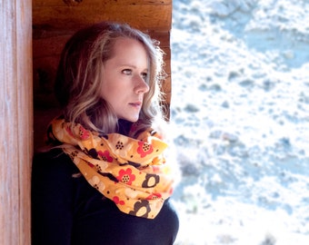 Mustard Retro Infinity Scarf, Floral Yellow Polka Dot Scarf, Brown Red Yellow Dot Scarf Circle Scarf, Printed Women Print Winter Scarf