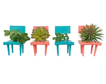 Plastic Miniature Doll House Chairs Mid Century Style Dollhouse Furniture Vintage Barbie Chairs Retro Miniatures Aqua and Salmon Pink Minis