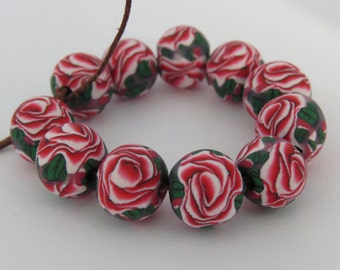 Beads, Rose beads, Red and white rose beads, Handmade beads, polymer clay beads, DIY Crafts, Jewelry Supply, Shygar beads, 10 pieces