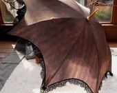 Sale - Striped Damask Victorian Parasol with Lace Trim OOAK