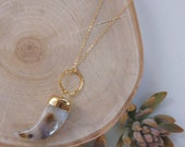 White Lace Agate Horn Pendant Gold Necklace