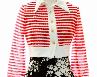 Candy Cane Red White Stripe Crop Jacket 70s