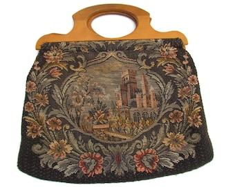 Vintage Tapestry Bag Purse Vintage Sewing Bag Henry Seligman Extra Large Carpet Bag Embroidered Petit Point Purse Needlepoint