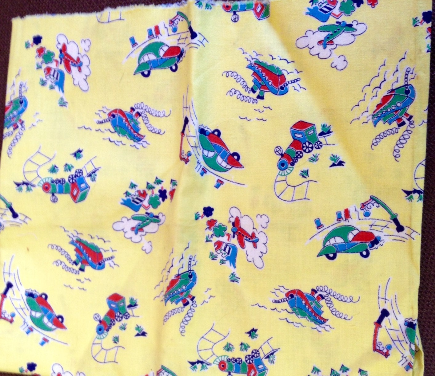 Vintage novelty fabric child yellow print cars train airplane for Train print fabric
