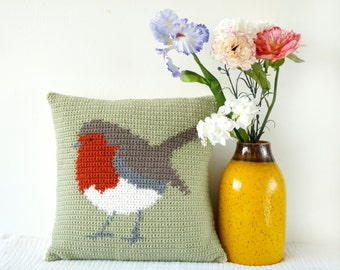 Crochet Cushion, Robin Pillow, Farmhouse Chic, Modern Crochet, Fall Pillow, Lodge Decor, Intarsia Pattern, Animal Pillows, Woodland Decor
