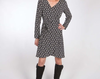 Faux Wrap Jersey Dress with Long or 3/4 Sleeves - Italian Black and White Chain Print Viscose Jersey