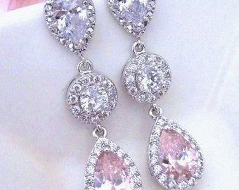 Bridal Earring - Light Pink Small Peardrop and round Cubic Zirconia with White Gold Plated Peardrop Post CZ Earrings