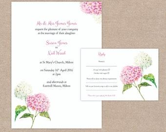 Hydrangea Wedding Floral Invitation and RSVP card set - Print at home - Digital file