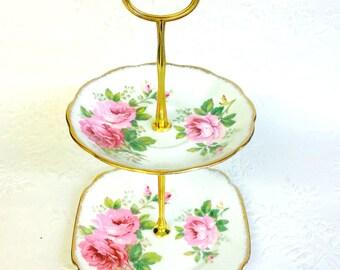 Royal Albert American Beauty 2 tier Tea Stand