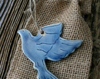 dove ornament, dove of peace, rustic decor, cobalt blue, handmade ornament, bird peace symbol, home decor, housewarming gift, porcelain dove