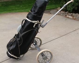 Vintage MacGregor Golf Bag Set - Bag Boy Deluxe Cart - Golfcraft Staff Woods, Irons, Pitching Wedge, Sand Wedge, Spalding Putter