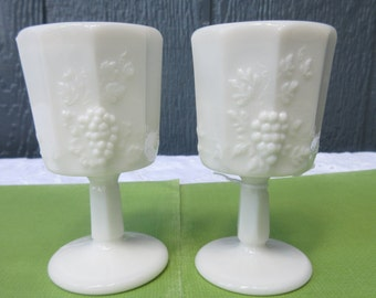 """5"""" Oversized Wine Glass/Vintage """"Paneled Grape"""" Milk Glass Water Goblet by Westmoreland - Water or Wine Glass/Farm Style Wine Glasses"""