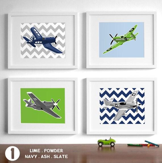 childrens wall art boys airplane nursery art - set of 4 vintage airplane drawings - art for boys nursery wall art