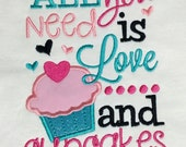 All You Need Is Love and Cupcakes  Appliqué shirt