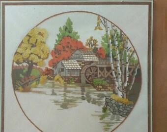 Fall mill pond cross stitch kit