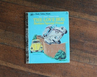 Vintage Children's Book -  The Love Bug Herbie's Special Frined (A Little Golden Book 1975)