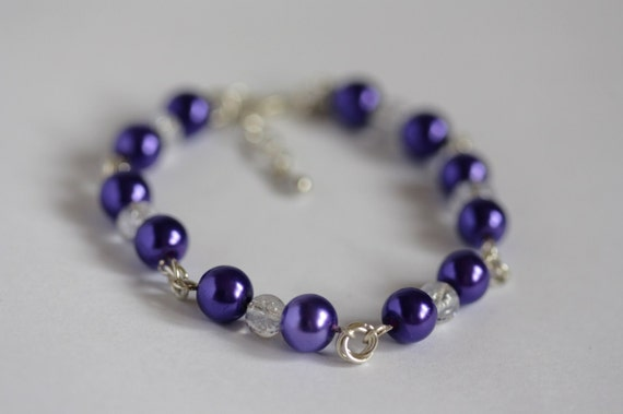 Purple chainmaille bracelet - chainmaille flower links, purple bracelet, lilac bracelet, shiny amethyst colour bracelet, February birthstone