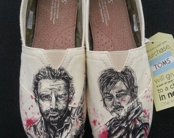 The Walking Dead Rick Grimes and Daryl Dixon Theme Zombie Custom Made Shoes ARTWORK and SHOES INCLUDED