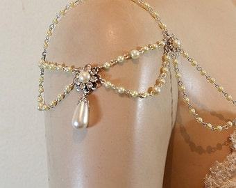 Bridal Shoulder Epaulettes Bridal Accessories Pearls Rhinestones 1920s Inspiration Shoulders Necklace Pearl Drop Wedding Pearl Jewelry OOAK