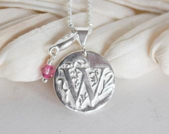 W Initial necklace PMC , W Initial pendant , Metal clay jewelry , Personalized jewelry , Initial necklace , Monogram necklace , PMC necklace