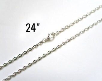 "5 Silver Necklaces - Flat Cable Chains - 3x4mm - 24"" - Ships IMMEDIATELY from California - CH674"