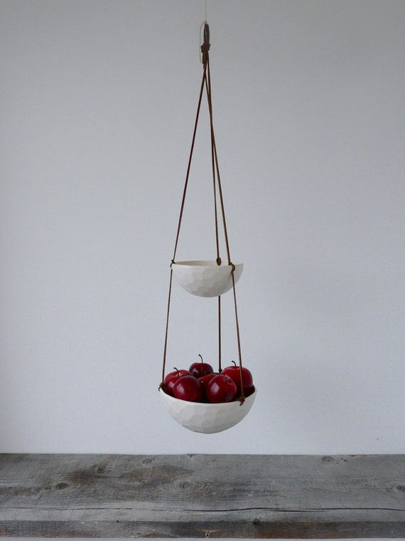 Hanging Fruit Basket, Two Tiered Porcelain and Leather