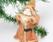 1940's Santa Christmas Ornament, Hand Painted Clay Face, Cotton Beard, Spun Cotton Hands & Legs