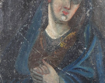 Antique Mexican Retablo Painting, Our Lady of Sorrows, Virgin Mary, Madonna