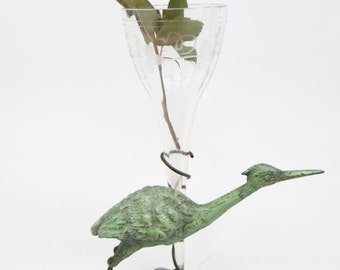 Antique Victorian Bronze Egret Eperne, with Etched Glass Vase. Sculpture