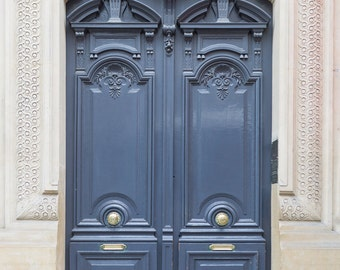Paris Photography - Paris Grey Door No. 8, Travel Photograph, Paris Architectural Fine Art Print, French Home Decor, Large Wall Art