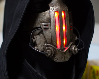 Xenogeist - Darkside variant - Unique one of a kind Cyberpunk light up dystopian mask  - Ready to ship