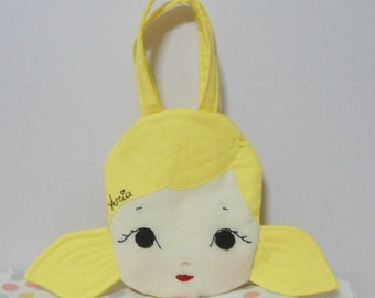 Custom Little girl, toddler hand bag,  toddler purse, quilted bag, doll face, embroidered, gift idea, made to order