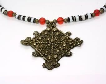 Ethiopian huge Coptic Cross Pendant Necklace christian religious Jewelry Gift