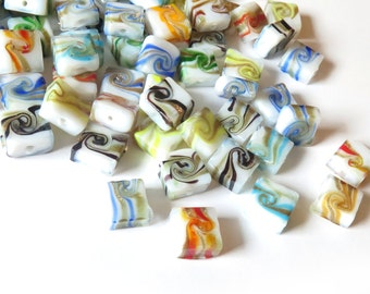 40 Pcs - Assorted Color Gold Swirl Lampwork Beads - 13mm wide,13mm long