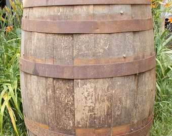 "early 1900's Wooden Antique Whiskey Barrel Farm Fresh 35"" TALL Large for Repurpose PICKUP ONLY"