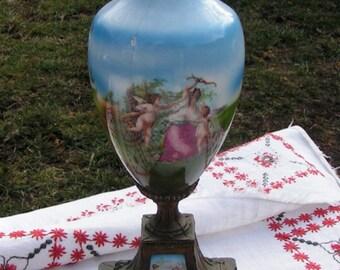 1900s Mixed Media Repurpose Brass Pedestal Vase Cupids and Woman in Garden