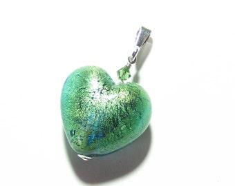 Murano Glass Green Heart Pendant, Venetian Glass Jewelry, Italian Glass Jewelry, Pale Aqua Lampwork Glass Heart Pendant, Gift Idea