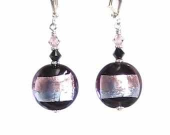 Genuine Murano Glass Earrings, Venetian Glass Blue Purple Striped Black Disc Silver Earrings, Italian Jewelry, Post Earrings, Leverbacks