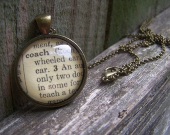 Coach Necklace-- Coach Jewelry--Vintage Dictionary Print Handmade Cabochon Necklace--Graduation Gift for Coach