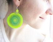 Neon yellow green round earrings. boho jewelry Polymer clay. Wire wrapped. Geometric earrings