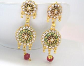 Meenakari Chandelier Flower Earrings