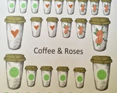 COFFEE & ROSES sticker set #3- planner diary scrapbook school books- week theme-OVER 40 stickers -