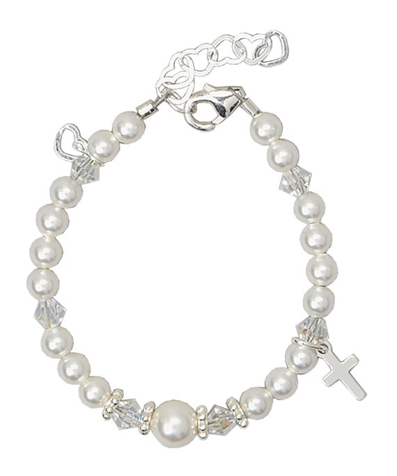 White Pearls with Swarovki Clear Crystals, Sterling Silver Daisy Spacers and Sterling Silver Cross Bracelet (BCRS)