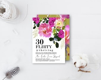30 Flirty And Thriving Thirtieth Birthday Party Invitation   Custom 5x7  Printable Invite Party Bright Floral