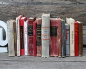 Set of 16 Vintage Books - Antique Book Decor - Photo Props - Wedding Decor - Centerpieces - Red, Gray, Grey, Brown, Old World Decor -Library