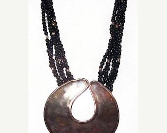 """Silver Tribal Pendant Necklace Black Glass Beads Brutalist Boho Huge 26"""" Vintage"""