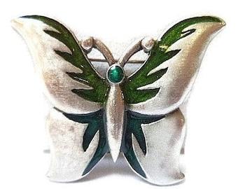 Butterfly Brooch Pin Signed L Razza Green Enamel Silver Metal 2.5 in Vintage