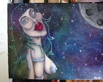 SPACE BABE - Hot Alien Warrior - Original Painting - Sci Fi Poster Art - Moon - Partial Nude